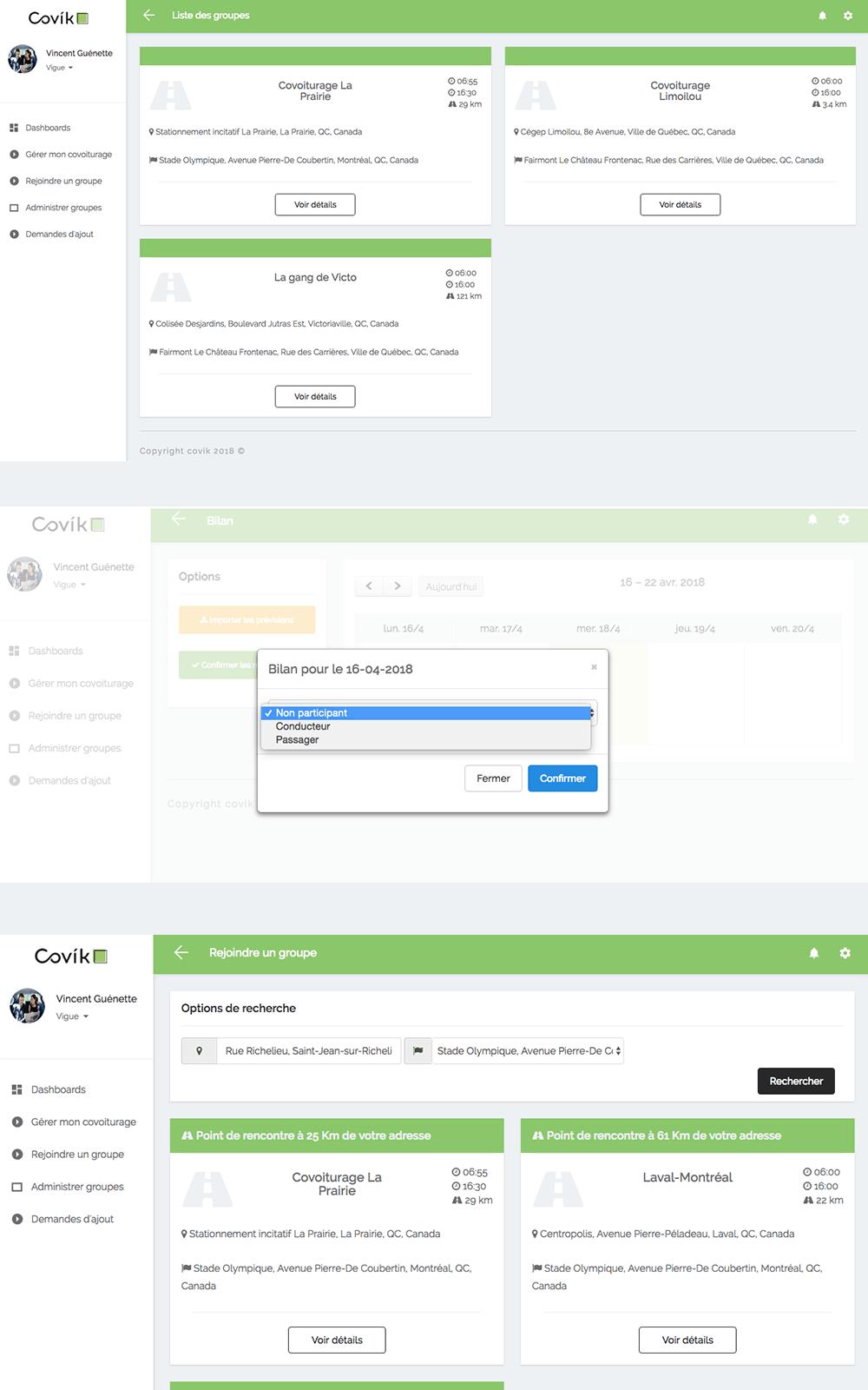 Capture d'écran de l'application Web Covik