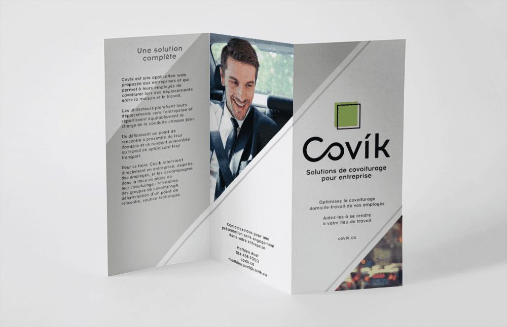 Graphisme du dépliant de Covik - covoiturage