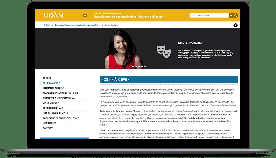 Site Web pour le baccalauréat en relations publiques