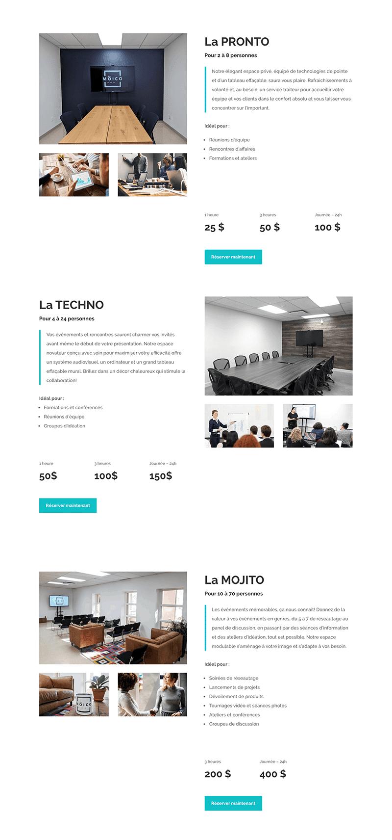 Maquette du site Web pour Moico